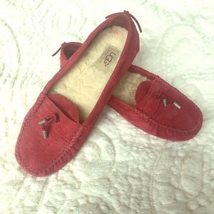 Ugg red suede loafers